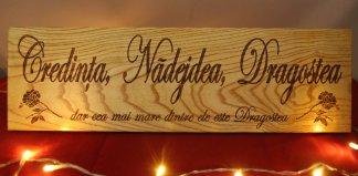 - Placheta lemn Credinta nadejdea dragostea